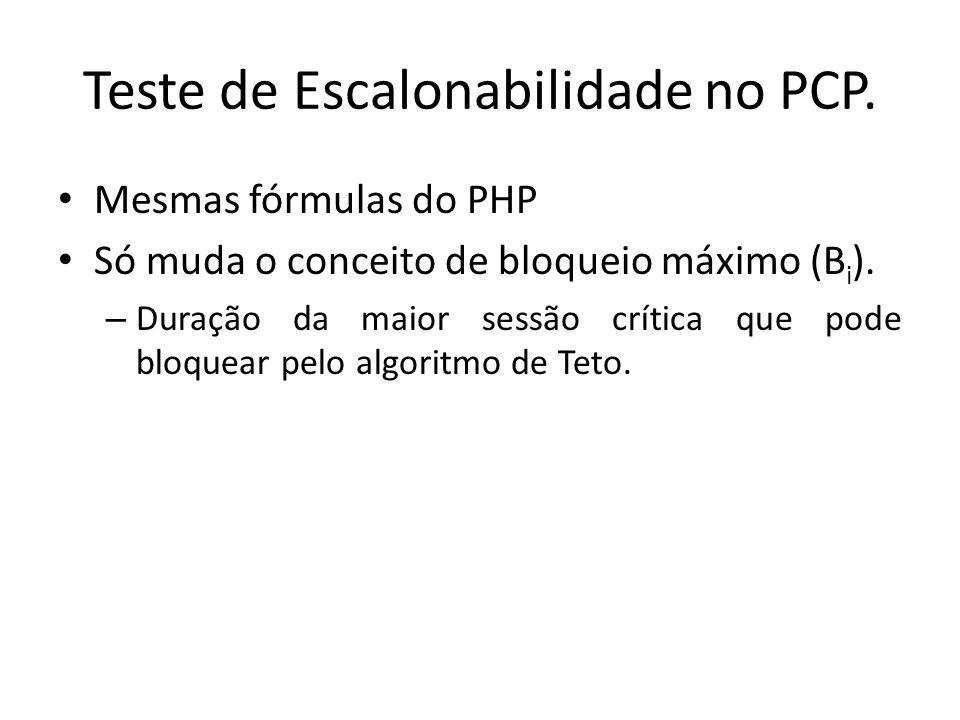 Teste de Escalonabilidade no PCP.
