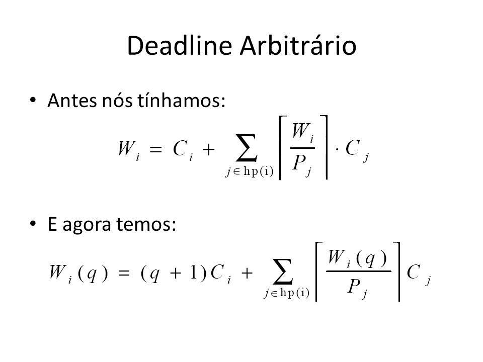 Deadline Arbitrário Antes nós tínhamos: E agora temos: