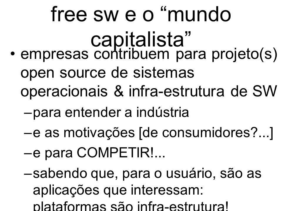 free sw e o mundo capitalista empresas contribuem para projeto(s) open source de sistemas operacionais & infra-estrutura de SW –para entender a indústria –e as motivações [de consumidores ...] –e para COMPETIR!...