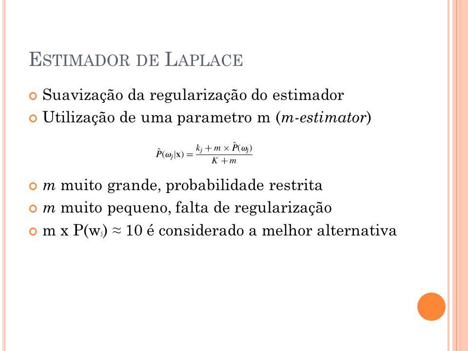 E STIMADOR DE L APLACE Suavização da regularização do estimador Utilização de uma parametro m ( m-estimator ) m muito grande, probabilidade restrita m
