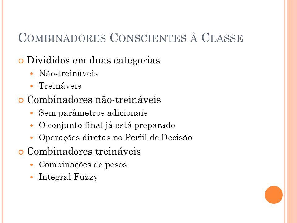 C OMBINADORES C ONSCIENTES À C LASSE Divididos em duas categorias Não-treináveis Treináveis Combinadores não-treináveis Sem parâmetros adicionais O co