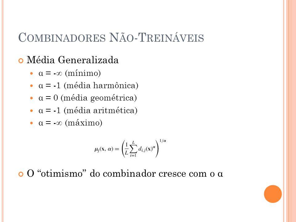 C OMBINADORES N ÃO -T REINÁVEIS Média Generalizada α = -∞ (mínimo) α = -1 (média harmônica) α = 0 (média geométrica) α = -1 (média aritmética) α = -∞ (máximo) O otimismo do combinador cresce com o α