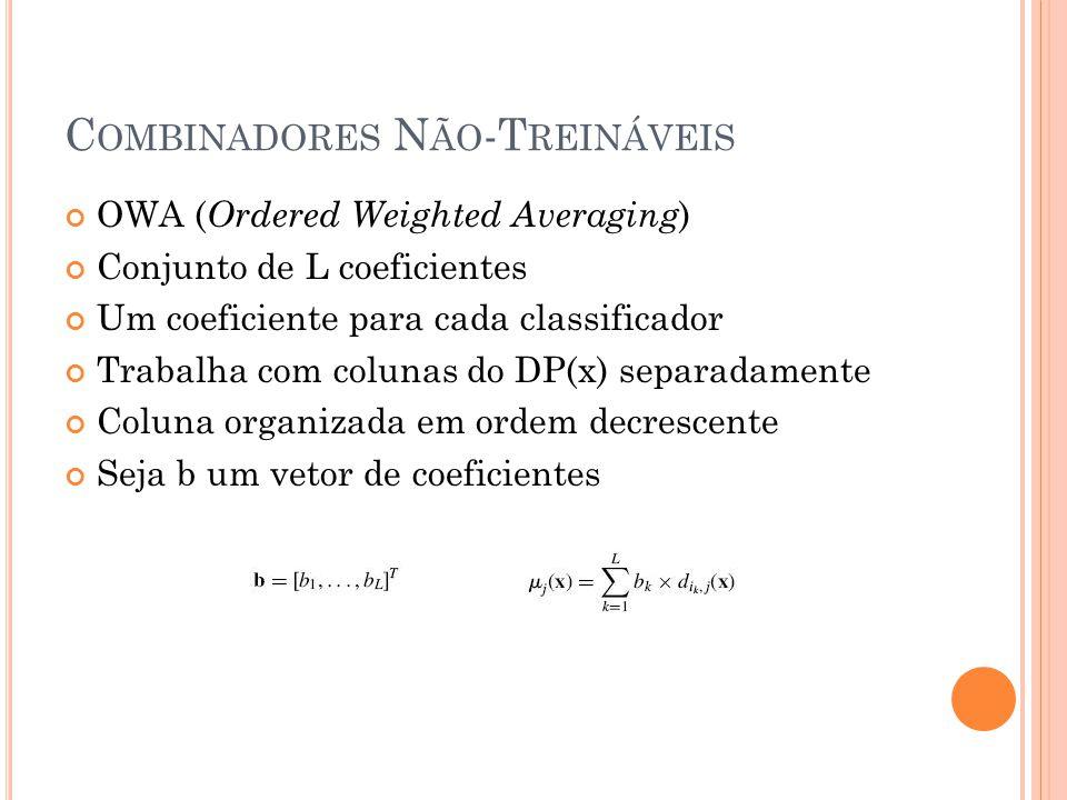 OWA ( Ordered Weighted Averaging ) Conjunto de L coeficientes Um coeficiente para cada classificador Trabalha com colunas do DP(x) separadamente Coluna organizada em ordem decrescente Seja b um vetor de coeficientes