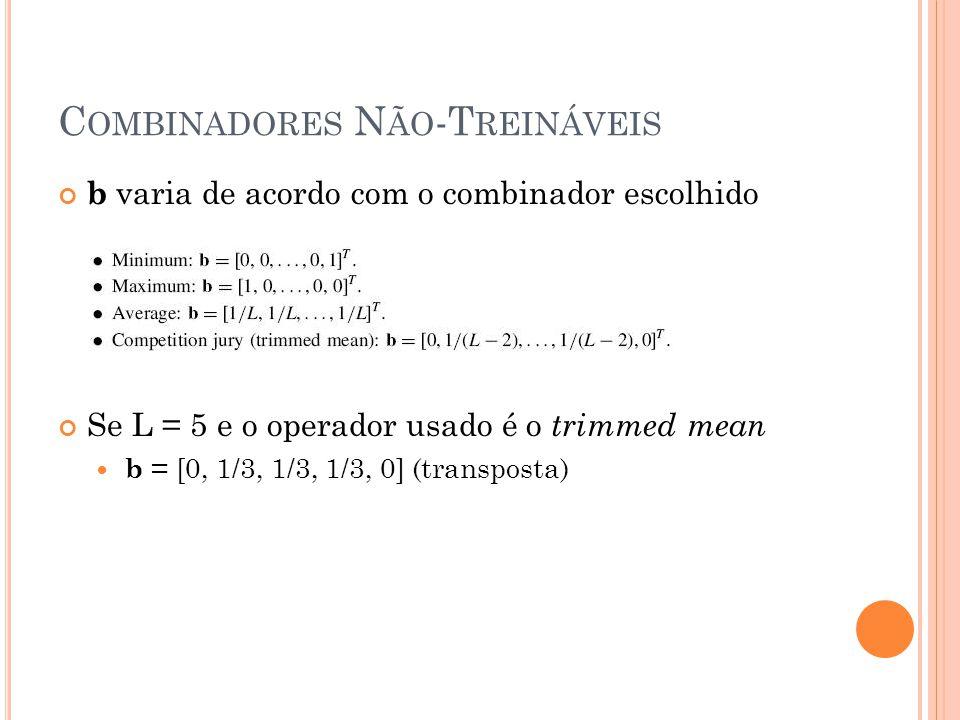C OMBINADORES N ÃO -T REINÁVEIS b varia de acordo com o combinador escolhido Se L = 5 e o operador usado é o trimmed mean b = [0, 1/3, 1/3, 1/3, 0] (transposta)