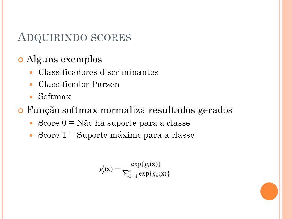 A DQUIRINDO SCORES Alguns exemplos Classificadores discriminantes Classificador Parzen Softmax Função softmax normaliza resultados gerados Score 0 = Não há suporte para a classe Score 1 = Suporte máximo para a classe