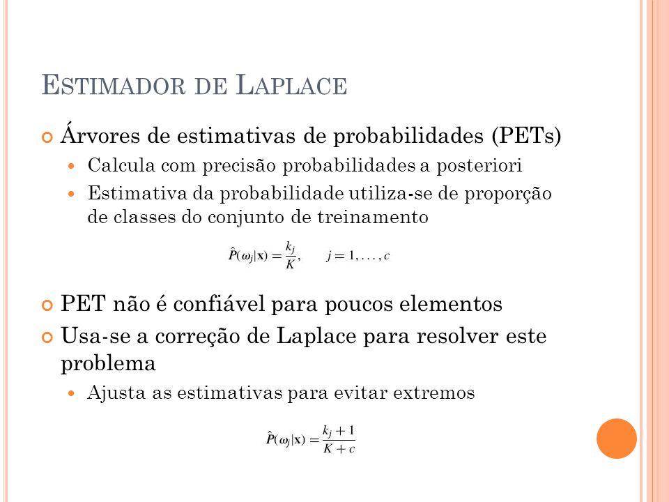E STIMADOR DE L APLACE Árvores de estimativas de probabilidades (PETs) Calcula com precisão probabilidades a posteriori Estimativa da probabilidade utiliza-se de proporção de classes do conjunto de treinamento PET não é confiável para poucos elementos Usa-se a correção de Laplace para resolver este problema Ajusta as estimativas para evitar extremos