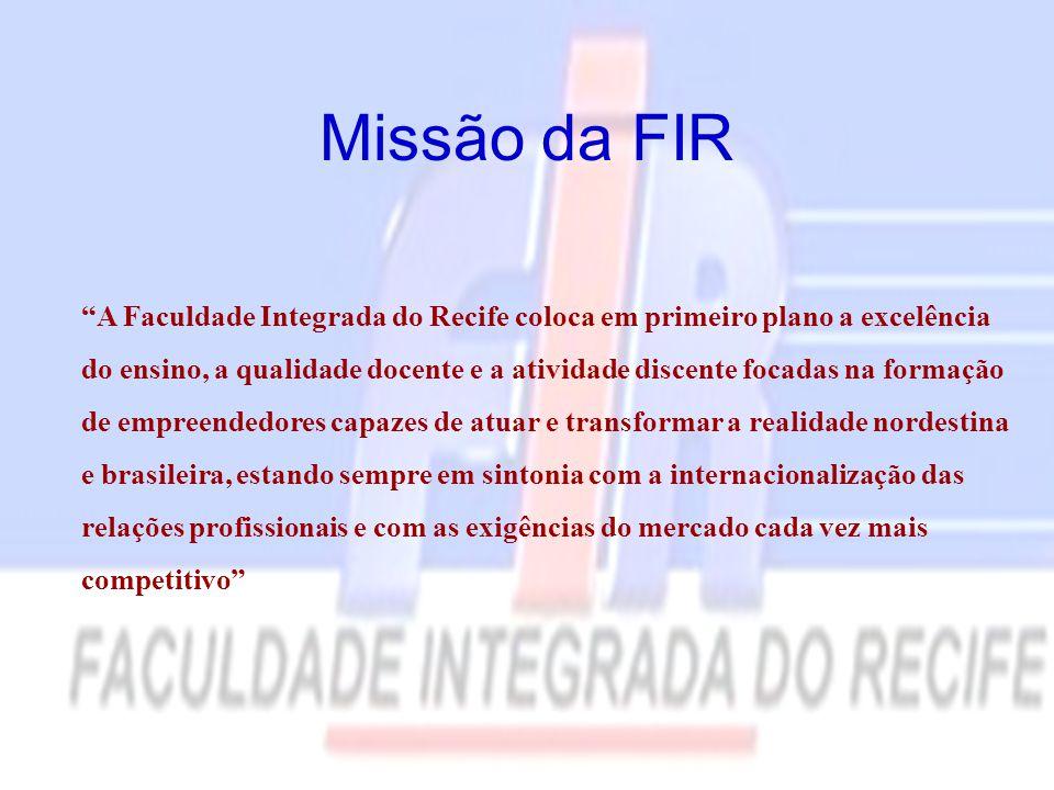 """Missão da FIR """"A Faculdade Integrada do Recife coloca em primeiro plano a excelência do ensino, a qualidade docente e a atividade discente focadas na"""