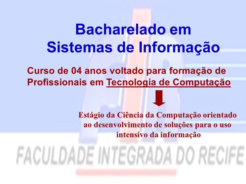 Bacharelado em Sistemas de Informação Curso de 04 anos voltado para formação de Profissionais em Tecnologia de Computação Estágio da Ciência da Computação orientado ao desenvolvimento de soluções para o uso intensivo da informação