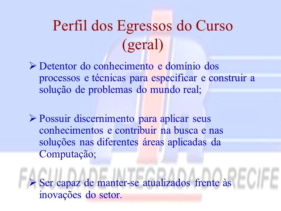 Perfil dos Egressos do Curso (geral)  Detentor do conhecimento e domínio dos processos e técnicas para especificar e construir a solução de problemas