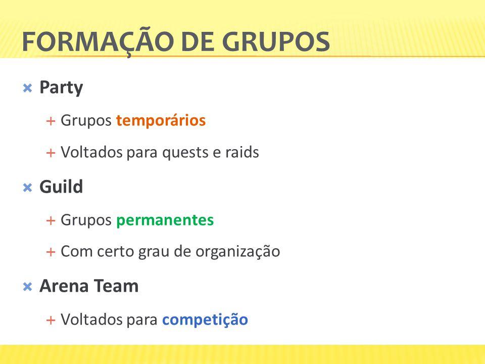 FORMAÇÃO DE GRUPOS  Party  Grupos temporários  Voltados para quests e raids  Guild  Grupos permanentes  Com certo grau de organização  Arena Team  Voltados para competição
