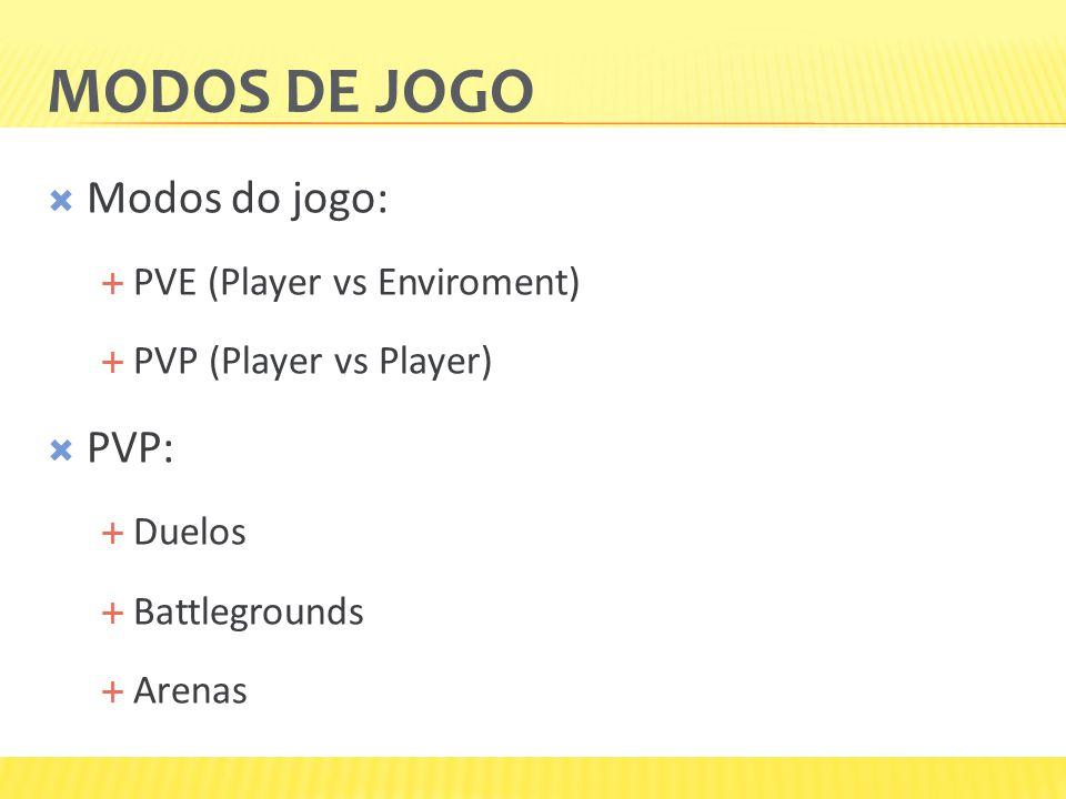 MODOS DE JOGO  Modos do jogo:  PVE (Player vs Enviroment)  PVP (Player vs Player)  PVP:  Duelos  Battlegrounds  Arenas