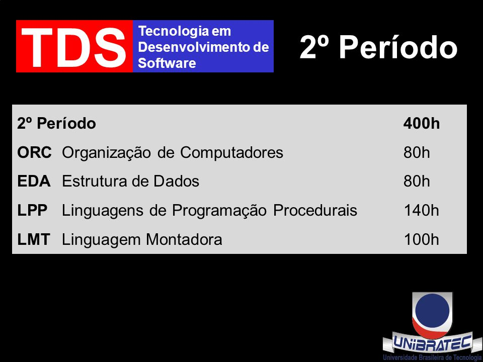Tecnologia em Desenvolvimento de Software TDS 2º Período 2º Período400h ORC Organização de Computadores80h EDA Estrutura de Dados80h LPP Linguagens de Programação Procedurais140h LMT Linguagem Montadora100h