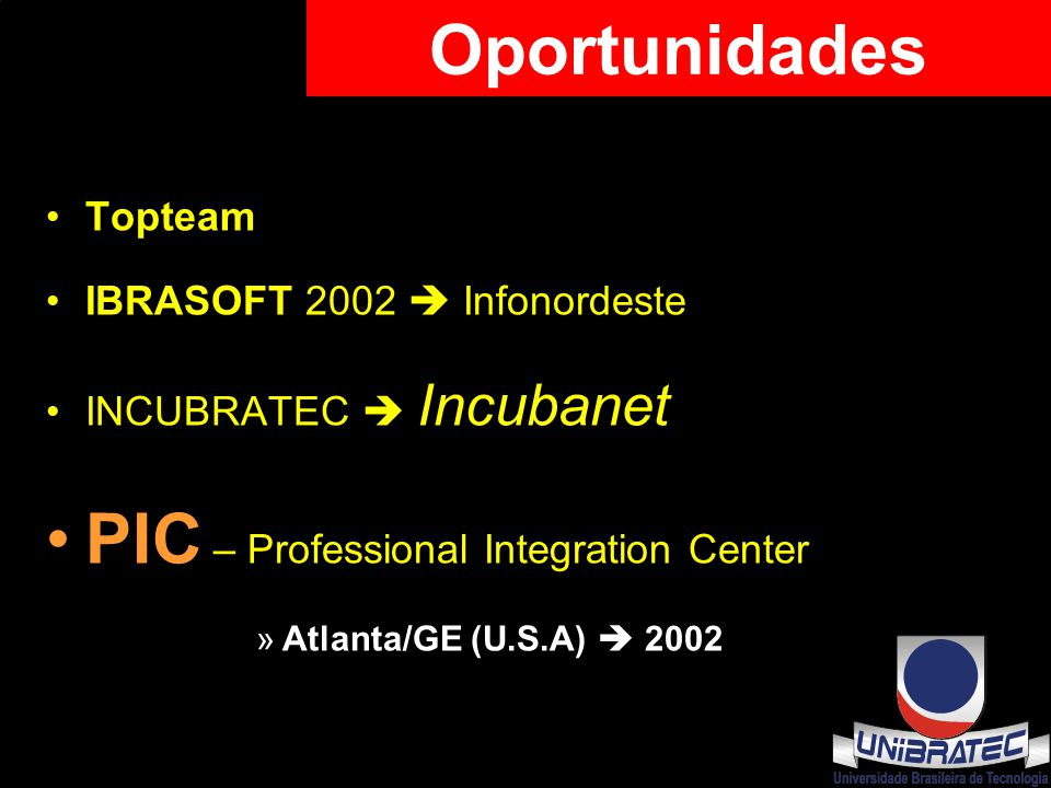 Topteam IBRASOFT 2002  Infonordeste INCUBRATEC  Incubanet PIC – Professional Integration Center »Atlanta/GE (U.S.A)  2002