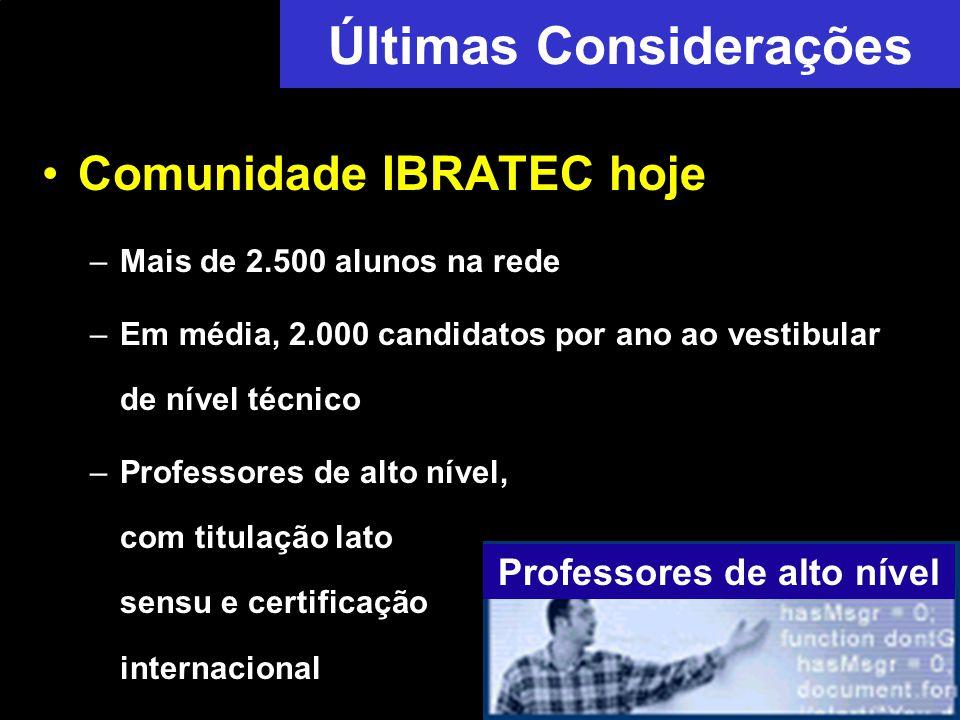 Últimas Considerações Comunidade IBRATEC hoje –Mais de 2.500 alunos na rede –Em média, 2.000 candidatos por ano ao vestibular de nível técnico –Professores de alto nível, com titulação lato sensu e certificação internacional Professores de alto nível