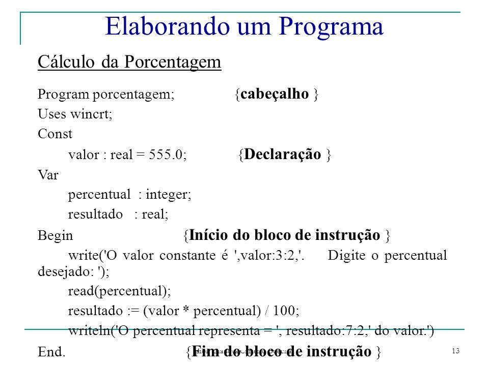 Paradigmas de Programação - prof Gláucya Carreiro Boechat 13 Cálculo da Porcentagem Program porcentagem;{ cabeçalho } Uses wincrt; Const valor : real = 555.0; { Declaração } Var percentual : integer; resultado : real; Begin { Início do bloco de instrução } write( O valor constante é ,valor:3:2, .