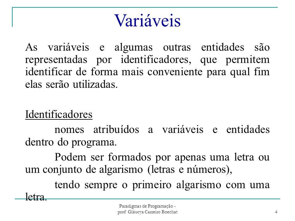 Paradigmas de Programação - prof Gláucya Carreiro Boechat 5 Tipo de Dados Básicos Os tipos predefinidos em Pascal são representados pelas palavras integer, real, boolean e char que indicam respectivamente: –conjunto dos valores inteiros (integer) –conjunto dos valores reais (real) –conjunto de valores lógicos (boolean) –conjunto de caracteres aceito pela linguagem (char ou string)  tipo string tipo composto de componentes do tipo char