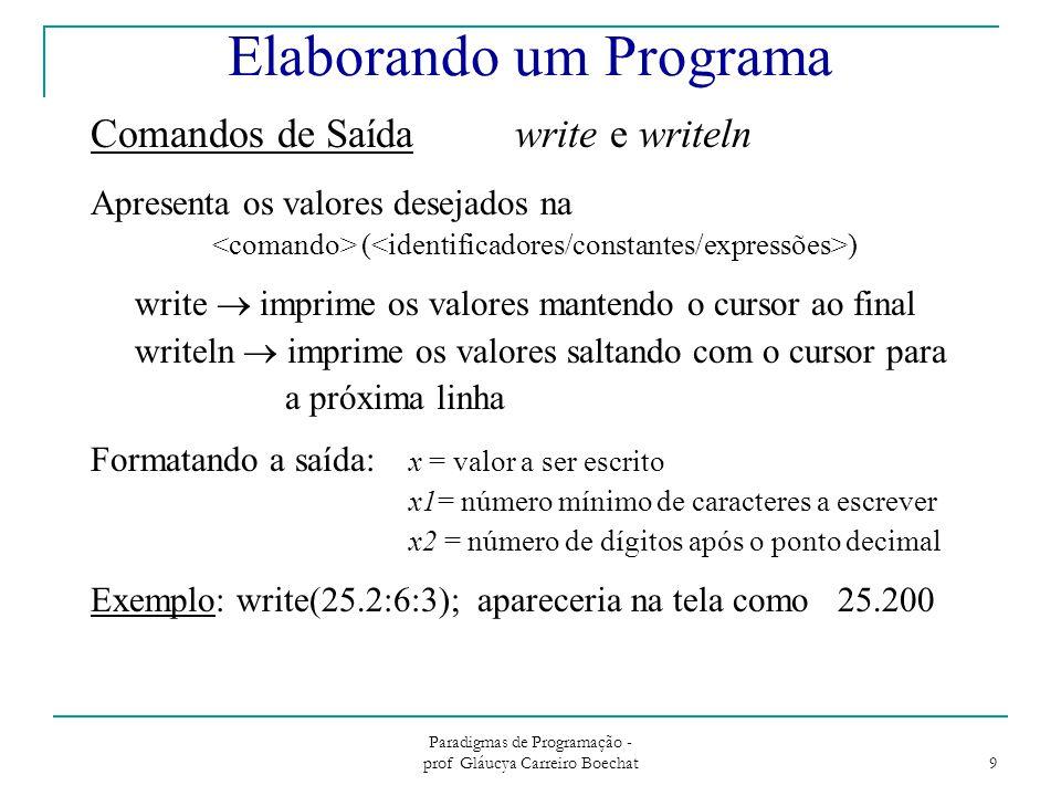 Paradigmas de Programação - prof Gláucya Carreiro Boechat 9 Elaborando um Programa Comandos de Saídawrite e writeln Apresenta os valores desejados na ( ) write  imprime os valores mantendo o cursor ao final writeln  imprime os valores saltando com o cursor para a próxima linha Formatando a saída: x = valor a ser escrito x1= número mínimo de caracteres a escrever x2 = número de dígitos após o ponto decimal Exemplo: write(25.2:6:3); apareceria na tela como 25.200