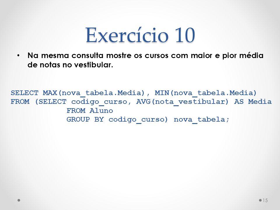 Exercício 10 Na mesma consulta mostre os cursos com maior e pior média de notas no vestibular. 15 SELECT MAX(nova_tabela.Media), MIN(nova_tabela.Media