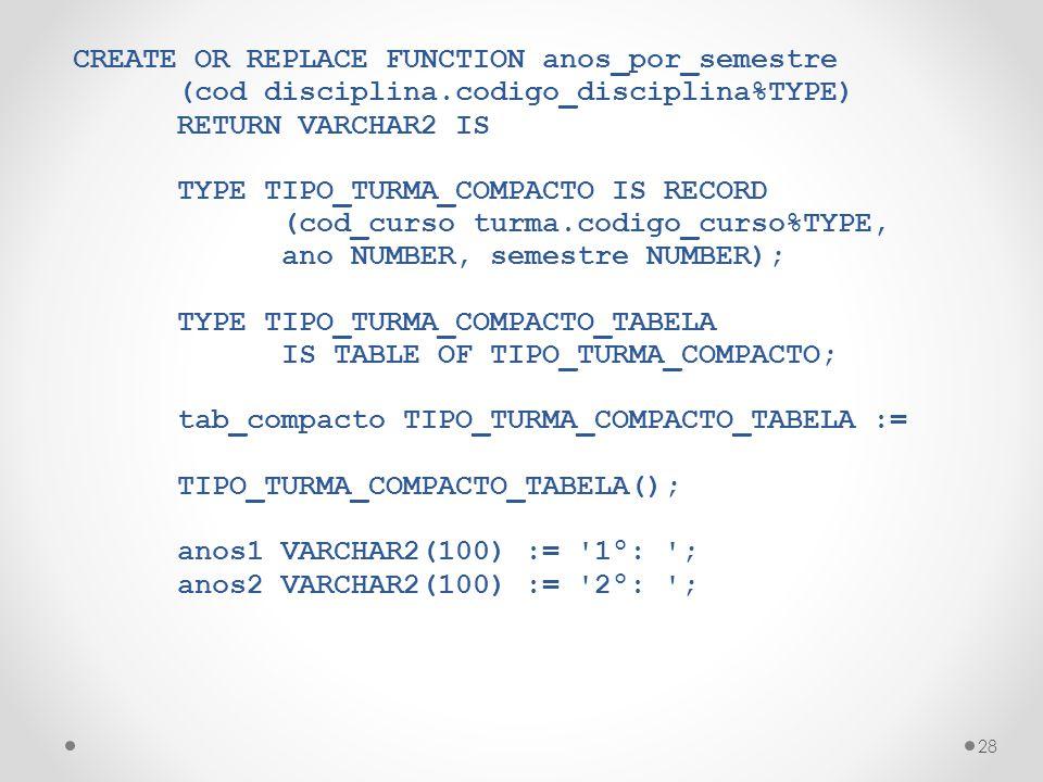 28 CREATE OR REPLACE FUNCTION anos_por_semestre (cod disciplina.codigo_disciplina%TYPE) RETURN VARCHAR2 IS TYPE TIPO_TURMA_COMPACTO IS RECORD (cod_curso turma.codigo_curso%TYPE, ano NUMBER, semestre NUMBER); TYPE TIPO_TURMA_COMPACTO_TABELA IS TABLE OF TIPO_TURMA_COMPACTO; tab_compacto TIPO_TURMA_COMPACTO_TABELA := TIPO_TURMA_COMPACTO_TABELA(); anos1 VARCHAR2(100) := 1º: ; anos2 VARCHAR2(100) := 2º: ;