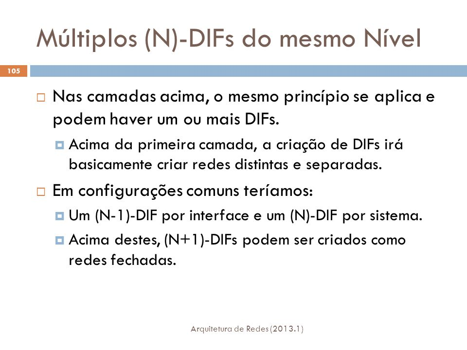 Múltiplos (N)-DIFs do mesmo Nível Arquitetura de Redes (2013.1) 105  Nas camadas acima, o mesmo princípio se aplica e podem haver um ou mais DIFs.