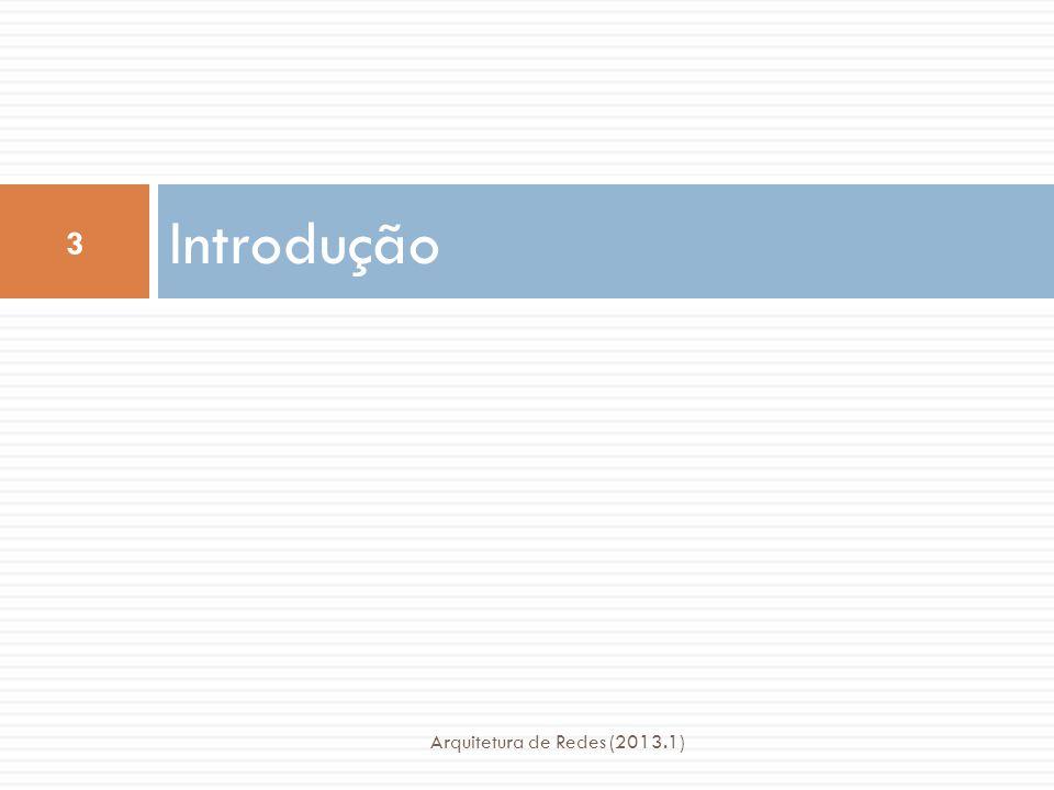 Funções da Tarefa IPC Arquitetura de Redes (2013.1) 44  Delimitação e proteção da PDU  Que consiste de funções razoavelmente diretas adequadas ao pipelining  Repasse e multiplexação  Que se preocupa com o gerenciamento da utilização da camada abaixo  Transferência de dados  Que distingue fluxos e sequenciamento caso necessário  Funções de controle de transferência de dados  Responsável por mecanismos de realimentação e sua sincronização, que controlam as filas de transferência de dados e retransmissões.