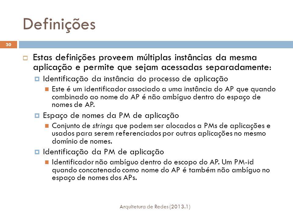 Definições Arquitetura de Redes (2013.1) 30  Estas definições proveem múltiplas instâncias da mesma aplicação e permite que sejam acessadas separadamente:  Identificação da instância do processo de aplicação Este é um identificador associado a uma instância do AP que quando combinado ao nome do AP é não ambíguo dentro do espaço de nomes de AP.