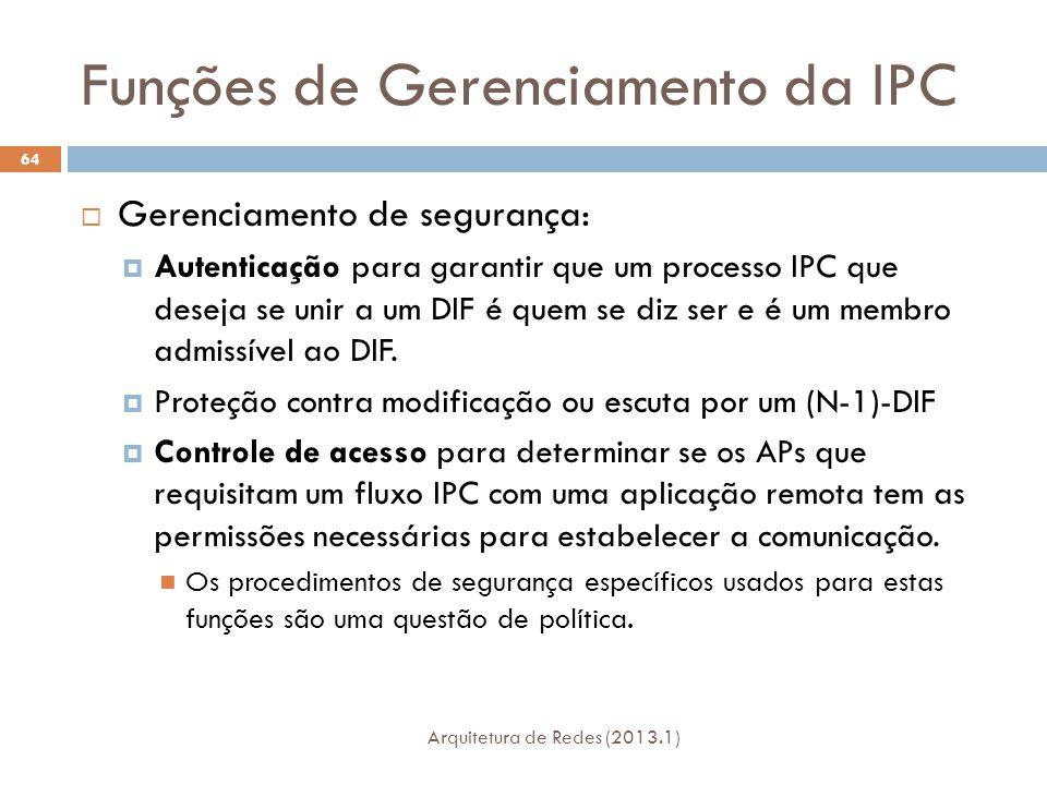 Funções de Gerenciamento da IPC Arquitetura de Redes (2013.1) 64  Gerenciamento de segurança:  Autenticação para garantir que um processo IPC que deseja se unir a um DIF é quem se diz ser e é um membro admissível ao DIF.