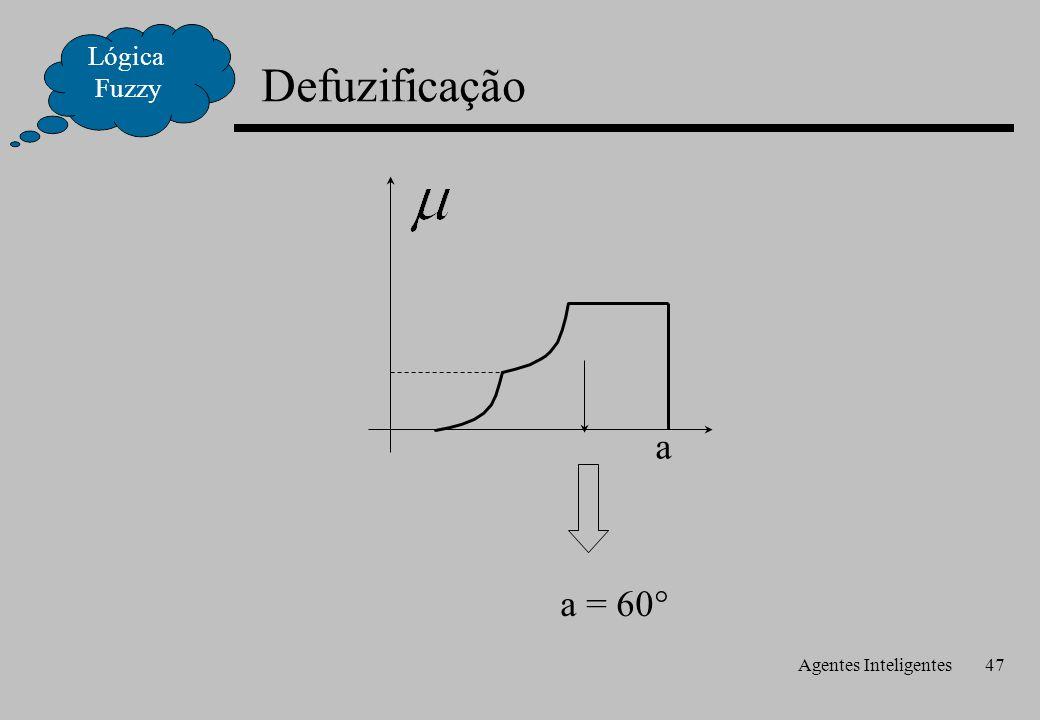Agentes Inteligentes47 Defuzificação Lógica Fuzzy a a = 60°