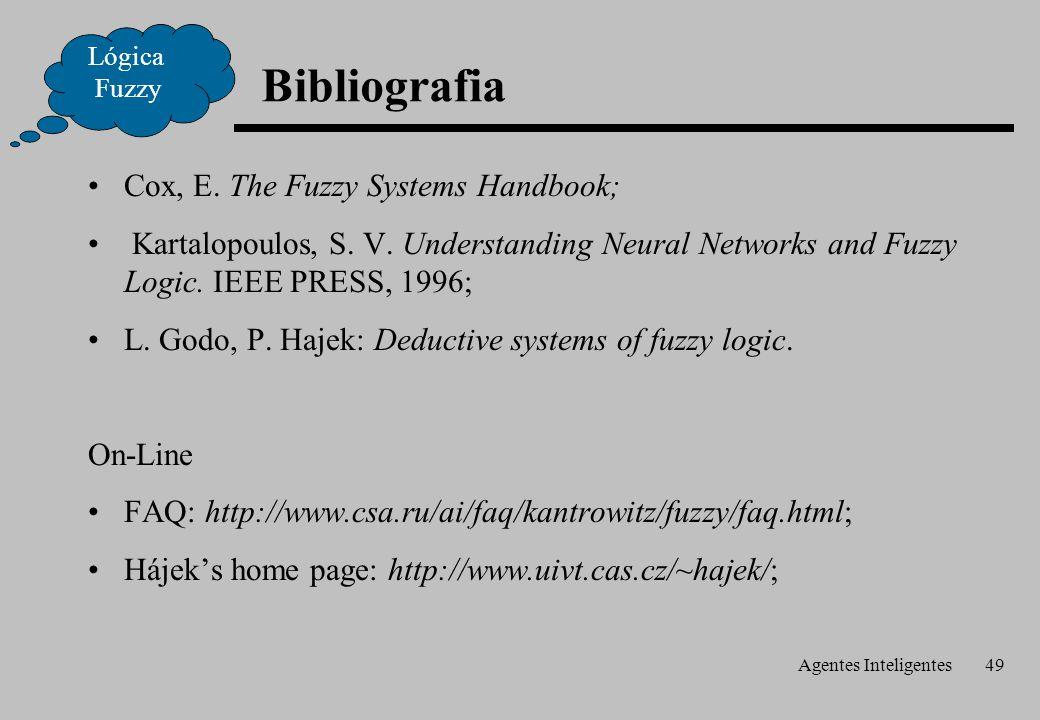 Agentes Inteligentes49 Bibliografia Lógica Fuzzy Cox, E. The Fuzzy Systems Handbook; Kartalopoulos, S. V. Understanding Neural Networks and Fuzzy Logi