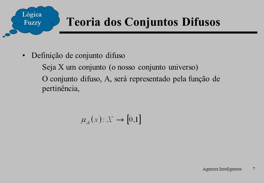 Agentes Inteligentes7 Definição de conjunto difuso Seja X um conjunto (o nosso conjunto universo) O conjunto difuso, A, será representado pela função de pertinência, Lógica Fuzzy Teoria dos Conjuntos Difusos