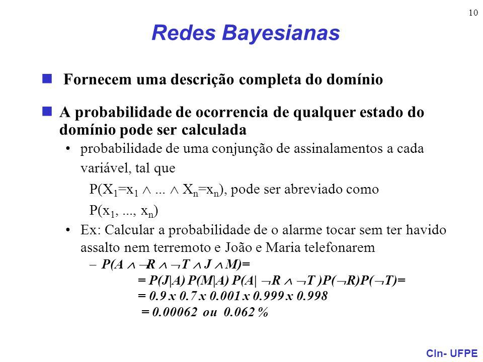 CIn- UFPE 10 Redes Bayesianas Fornecem uma descrição completa do domínio A probabilidade de ocorrencia de qualquer estado do domínio pode ser calculad