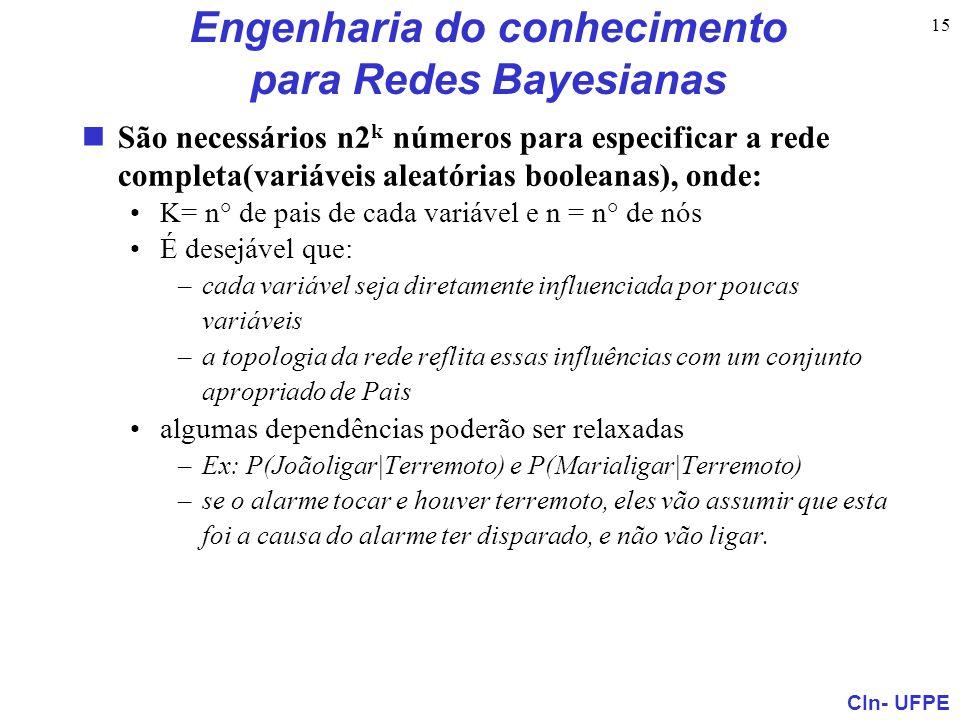 CIn- UFPE 15 Engenharia do conhecimento para Redes Bayesianas São necessários n2 k números para especificar a rede completa(variáveis aleatórias boole