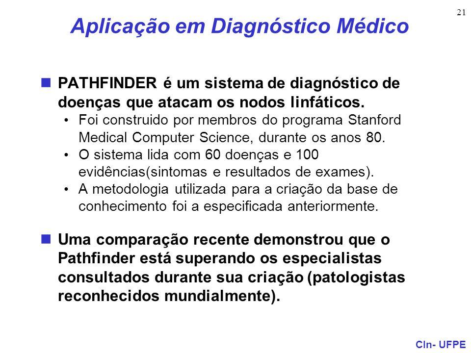 CIn- UFPE 21 Aplicação em Diagnóstico Médico PATHFINDER é um sistema de diagnóstico de doenças que atacam os nodos linfáticos. Foi construido por memb