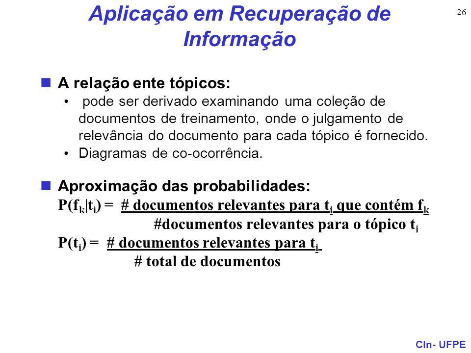 CIn- UFPE 26 Aplicação em Recuperação de Informação A relação ente tópicos: pode ser derivado examinando uma coleção de documentos de treinamento, ond
