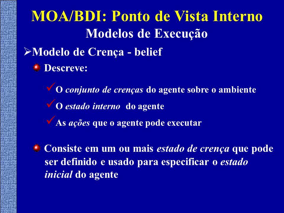  Modelo de Crença - belief MOA/BDI: Ponto de Vista Interno Modelos de Execução Descreve: Consiste em um ou mais estado de crença que pode ser definido e usado para especificar o estado inicial do agente O conjunto de crenças do agente sobre o ambiente O estado interno do agente As ações que o agente pode executar