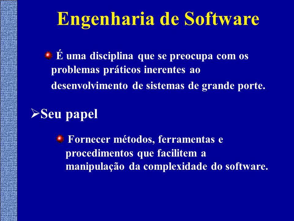 Engenharia de Software  Seu papel Fornecer métodos, ferramentas e procedimentos que facilitem a manipulação da complexidade do software.