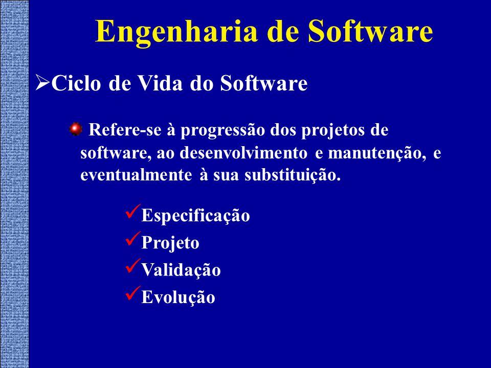  Ciclo de Vida do Software Refere-se à progressão dos projetos de software, ao desenvolvimento e manutenção, e eventualmente à sua substituição.