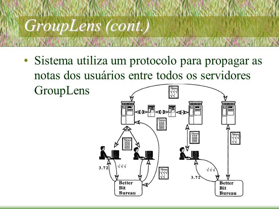 GroupLens (cont.) Sistema utiliza um protocolo para propagar as notas dos usuários entre todos os servidores GroupLens