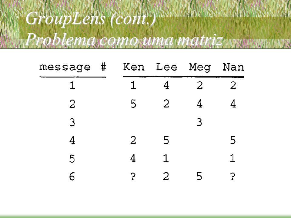 GroupLens (cont.) Problema como uma matriz
