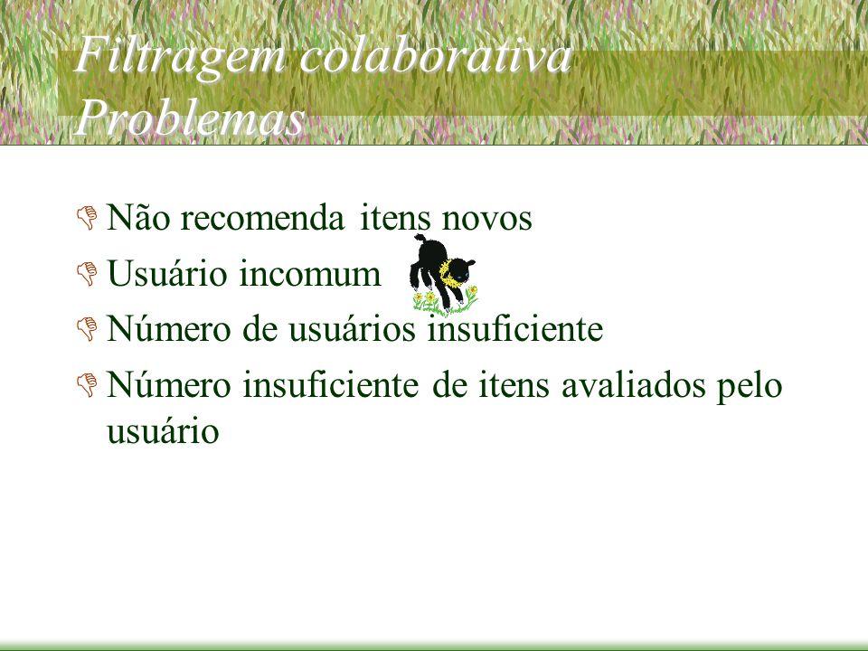 Filtragem colaborativa Problemas  Não recomenda itens novos  Usuário incomum  Número de usuários insuficiente  Número insuficiente de itens avaliados pelo usuário
