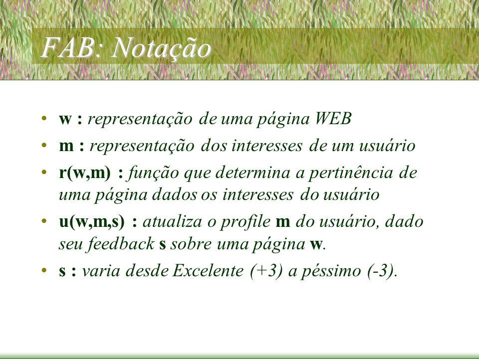FAB: Notação w : representação de uma página WEB m : representação dos interesses de um usuário r(w,m) : função que determina a pertinência de uma página dados os interesses do usuário u(w,m,s) : atualiza o profile m do usuário, dado seu feedback s sobre uma página w.