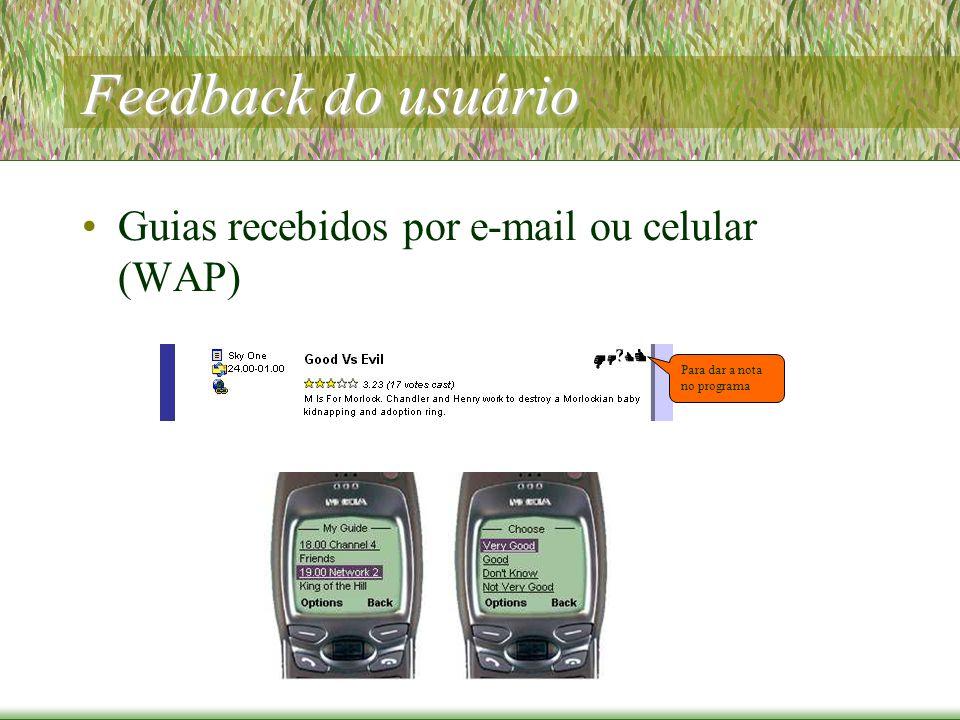 Feedback do usuário Guias recebidos por e-mail ou celular (WAP) Para dar a nota no programa