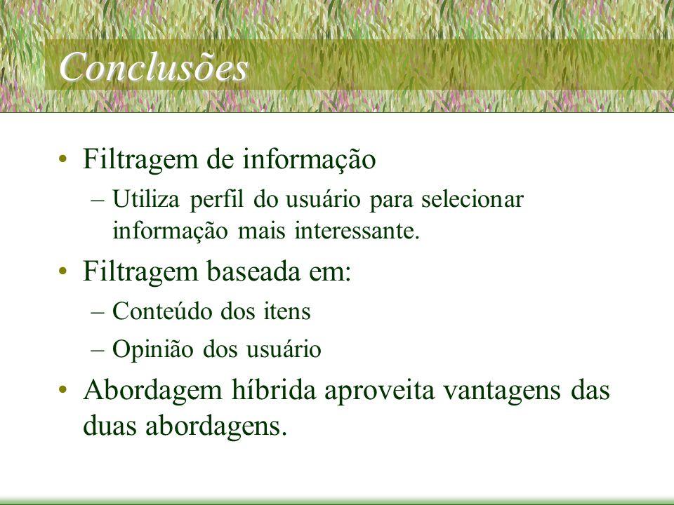 Conclusões Filtragem de informação –Utiliza perfil do usuário para selecionar informação mais interessante.