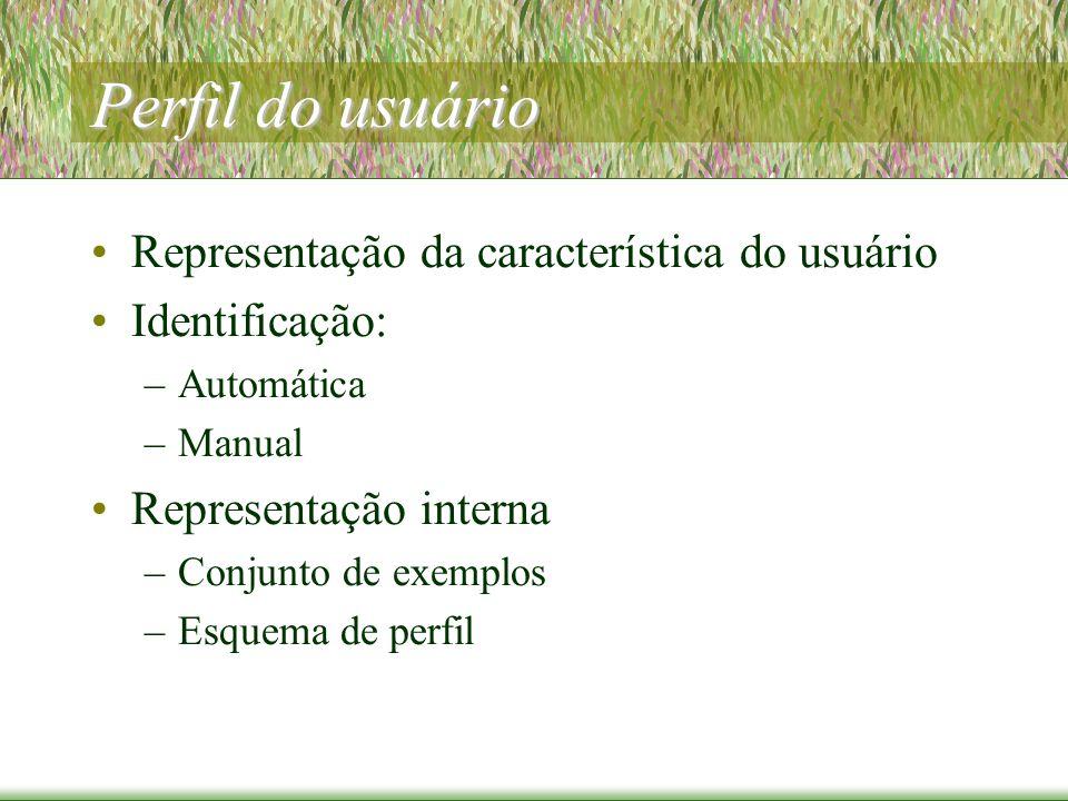 Perfil do usuário Representação da característica do usuário Identificação: –Automática –Manual Representação interna –Conjunto de exemplos –Esquema de perfil