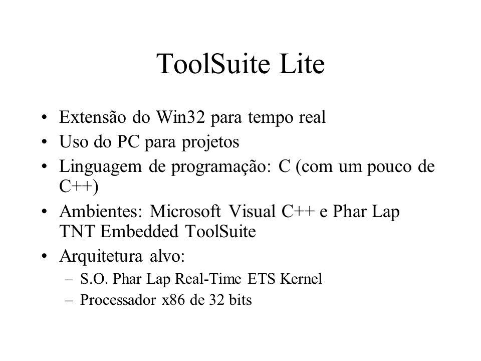 ToolSuite Lite Extensão do Win32 para tempo real Uso do PC para projetos Linguagem de programação: C (com um pouco de C++) Ambientes: Microsoft Visual C++ e Phar Lap TNT Embedded ToolSuite Arquitetura alvo: –S.O.