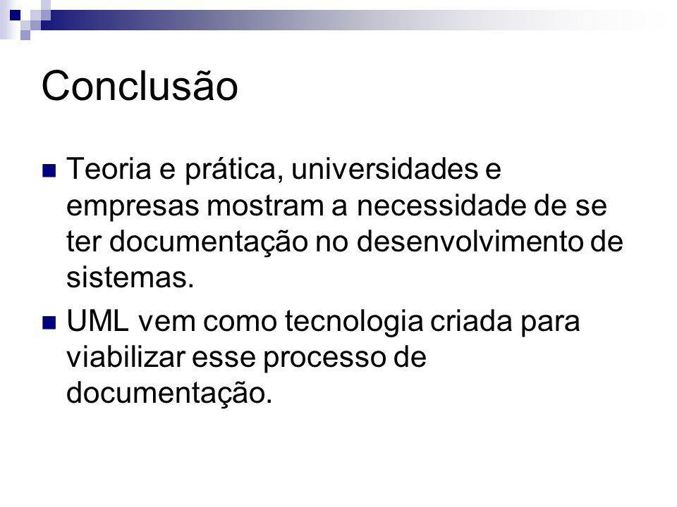 Conclusão Teoria e prática, universidades e empresas mostram a necessidade de se ter documentação no desenvolvimento de sistemas. UML vem como tecnolo