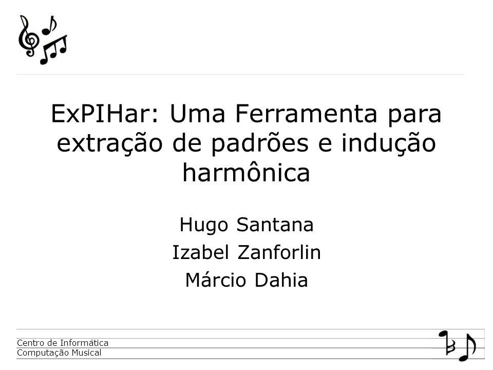 Centro de Informática Computação Musical ExPIHar: Uma Ferramenta para extração de padrões e indução harmônica Hugo Santana Izabel Zanforlin Márcio Dahia