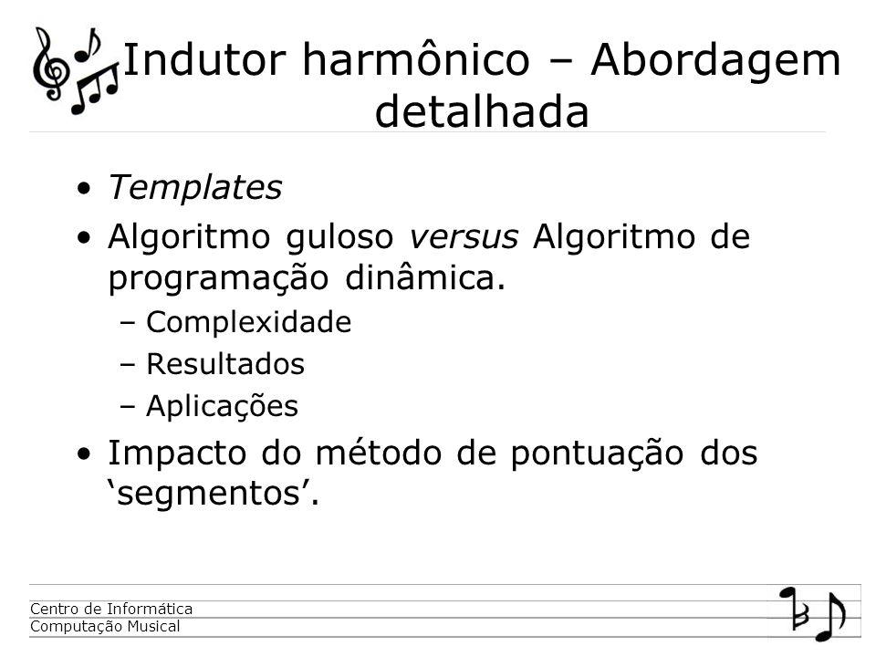 Centro de Informática Computação Musical Indutor harmônico – Abordagem detalhada Templates Algoritmo guloso versus Algoritmo de programação dinâmica.