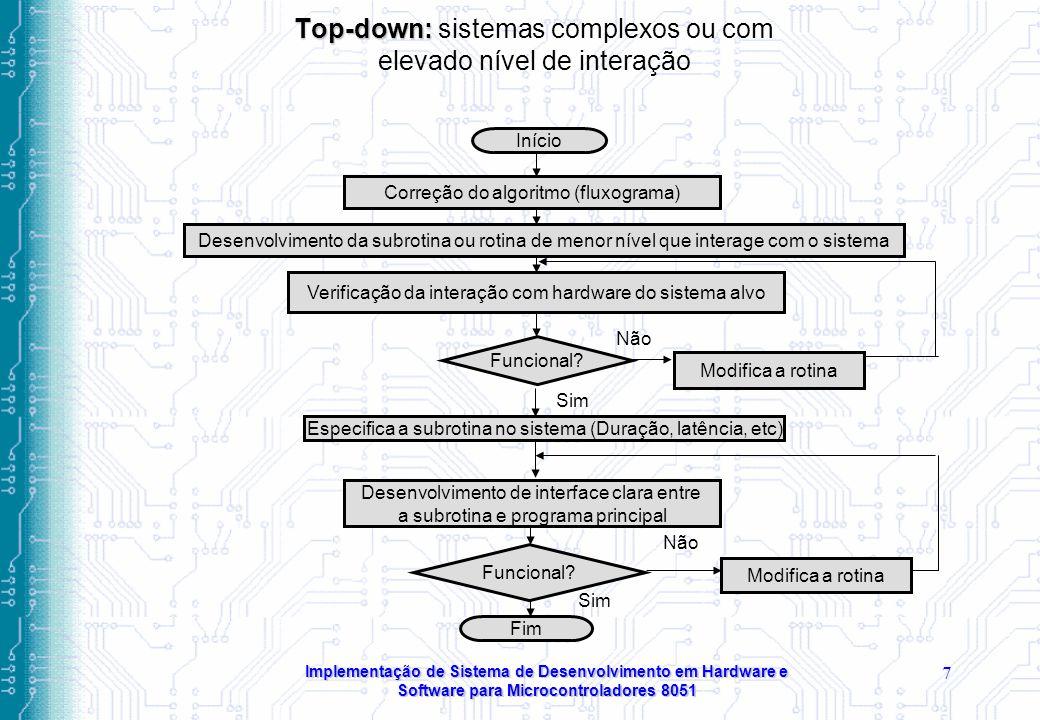 Implementação de Sistema de Desenvolvimento em Hardware e Software para Microcontroladores 8051 7 Top-down: Top-down: sistemas complexos ou com elevado nível de interação Início Correção do algoritmo (fluxograma) Desenvolvimento da subrotina ou rotina de menor nível que interage com o sistema Verificação da interação com hardware do sistema alvo Funcional.