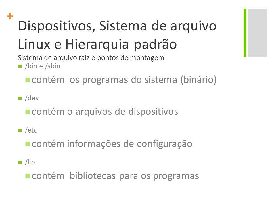 + Dispositivos, Sistema de arquivo Linux e Hierarquia padrão Sistema de arquivo raiz e pontos de montagem /bin e /sbin contém os programas do sistema